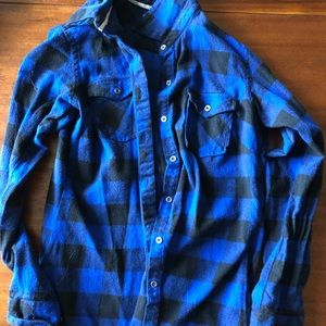 Blue and black womens flannel